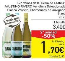 Oferta de IGP Vinos de la Tierra de Castilla FAUSTINO RIVERO Vendimia seleccionada Blanco verdejo, Chardonnay o Sauvignon Blanco por 3,4€