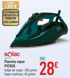 Oferta de Plancha vapor PV2028 Solac  por 28€
