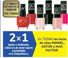 Oferta de En TODAS las lacas de uñas RIMMEL, ASTOR y MAX FACTOR por