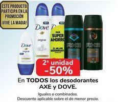 Oferta de En TODOS los desodorantes AXE y DOVE, iguales o combinados  por