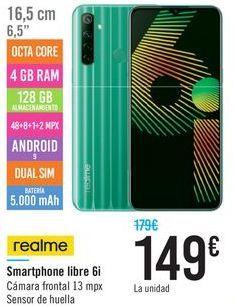 Oferta de Smartphone libre 6i Realme por 149€