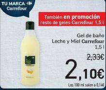 Oferta de Gel de baño Leche y Miel Carrefour por 2,1€
