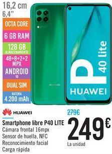 Oferta de Smartphone libre P40 Lite HUAWEI por 249€