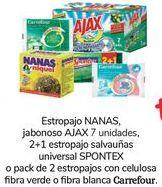 Oferta de Estropajo NANAS Jabonoso AJAX, 2+1 estropajo salvauñas universal SPONTEX o pack de 2 estropajos con celilosa fibra verde o fibra blanca Carrefour por 1€