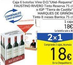 """Oferta de Caja 6 botellas Vino D.O. """"Utiel-Requena"""" FAUSTINO RIVERO Tinto Reserva o IGP """"Tierra de Castilla"""" MARQUÉS DE GRIÑÓN Tinto 8 meses Barrica por 18€"""