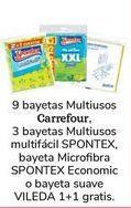 Oferta de 9 bayetas multiusos Carrefour, 3 bayetas multisusos multifácil SPONTEX, bayeta Microfibra Spontex Economic o bayeta suave VILEDA 1+1 Gratis  por 1€
