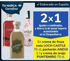 Oferta de En crema de fresa nata LOCH CASTLE, pacharán ANDUI y crema de orujo PUNTEMIÑO por