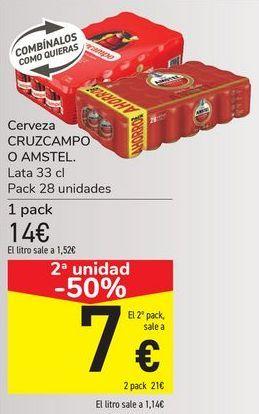 Oferta de Cerveza CRUZCAMPO o AMSTEL  por 14€