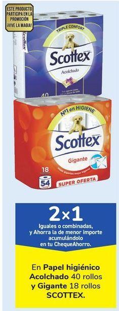 Oferta de En Papel higiénico Acolchado y Gigante SCOTTEX por
