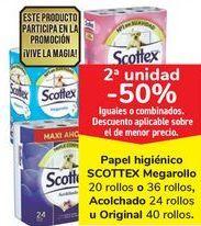 Oferta de Papel higiénico SCOTTEX Megarollo o Acolchado u Original, iguales o combinados  por