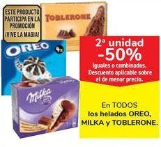 Oferta de En TODOS los helados OREO, MILKA y TOBLERONE por