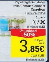 Oferta de Papel higiénico doble rollo Confort Compact Carrefour  por 7,7€