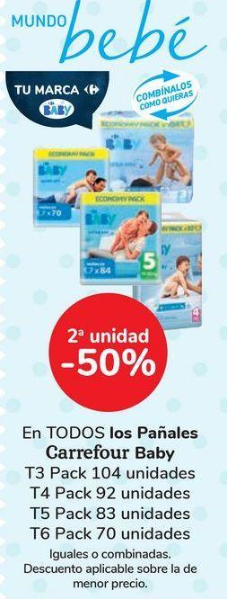 Oferta de En TODOS los Pañales Carrefour Baby  por 13€