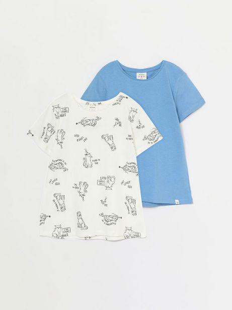 Oferta de Pack de 2 camisetas básicas lisa y estampada de manga corta por 4,99€