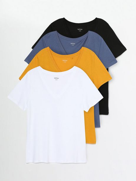 Oferta de Pack de 4 camisetas de cuello pico combinadas por 12,99€