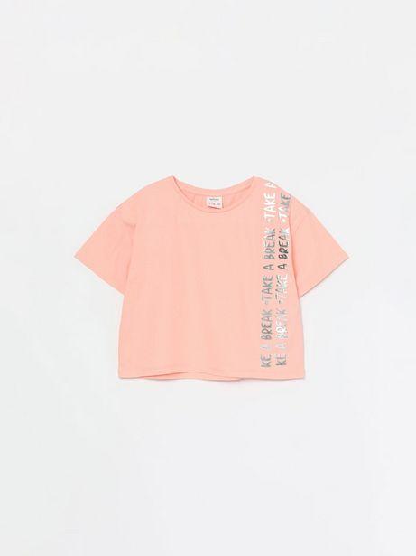 Oferta de Camiseta crop con texto metalizado por 4,99€