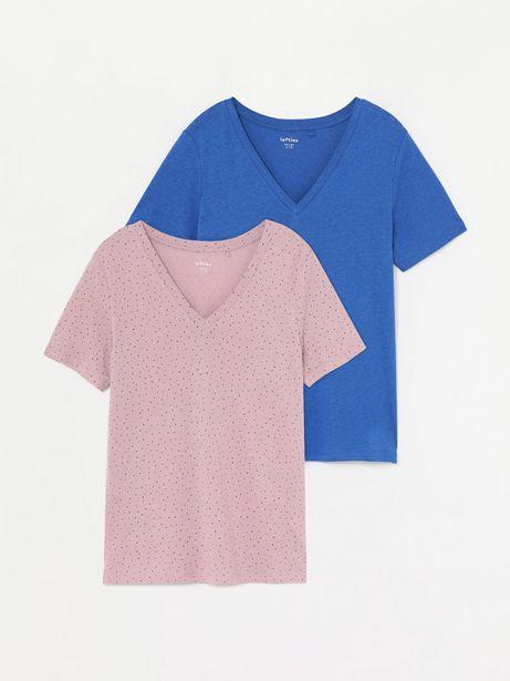 Oferta de Pack de 2 camisetas lisa y estampada con escote en pico por 8,99€
