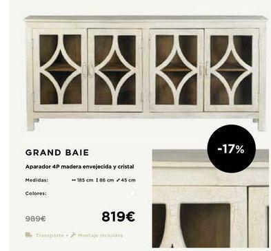Oferta de Aparador  4P madera envejecida o cristal GRAND BAIE  por 819€