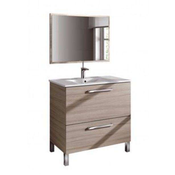Oferta de Mueble con lavabo y espejo NATURE - IBERODEPOT por 157,55€