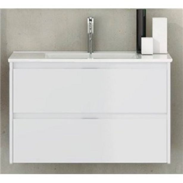 Oferta de Mueble con lavabo de fondo reducido Blanco brillo Ibiza TEGLER por 185,66€