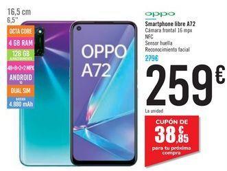 Oferta de Smartphone libre A72 OPPO por 259€
