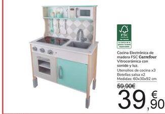 Oferta de Cocina Electrónica de madera FSC Carrefour Vitrocerámica con sonido y luz por 39,9€