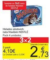 Oferta de Helados sándwich nata Maxibón NESTLÉ por 4,1€