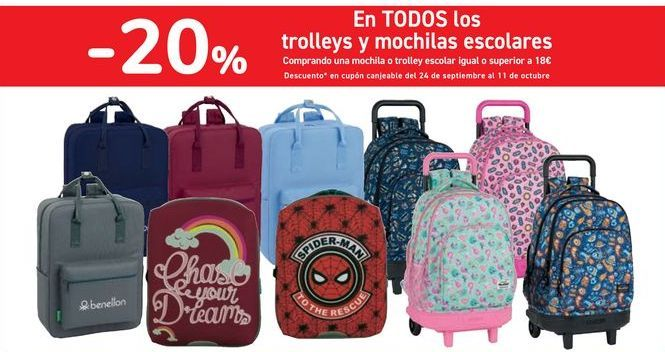Oferta de En TODOS los trolleys y mochilas escolares por