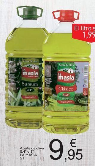 Oferta de Aceite de oliva 0,4º o 1º LA MASIA por 9,95€
