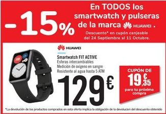 Oferta de Smartwatch FIT ACTIVE HUAWEI por 129€