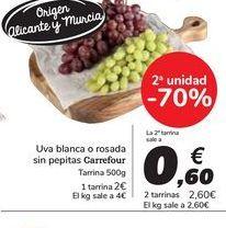 Oferta de Uva blanca o rosada sin pepitas Carrefour por 2€