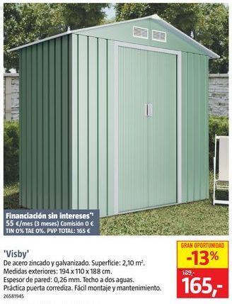 Oferta de Caseta de jardín por 165€