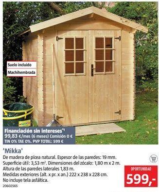 Oferta de Caseta de madera por 599€