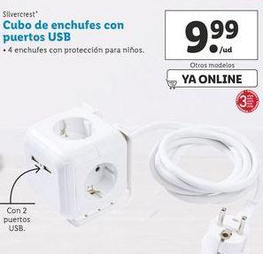 Oferta de Cubo de enchufes con puertos USB SilverCrest por 9,99€