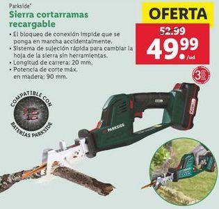 Oferta de Sierra cortarramas recargable  Parkside por 49,99€
