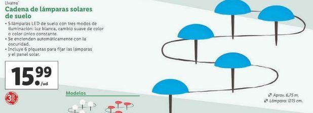 Oferta de Cadena de lamparas solares de suelo Livarno por 15,99€