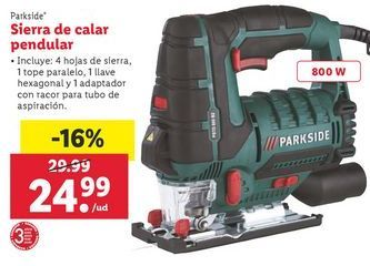 Oferta de Sierra de calar pendular Parkside por 24,99€