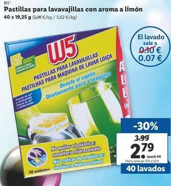 Oferta de Pastillas para lavavajillas W5 por 2,79€