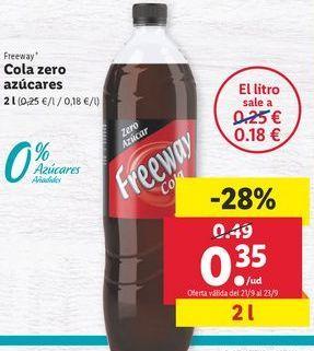 Oferta de Cola zero azucares  Freeway por 0,35€