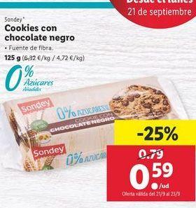 Oferta de Cookies con chocolate negro sondey por 0,59€