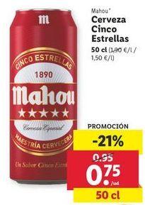 Oferta de Cerveza cinco estrellas Mahou por 0,75€