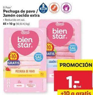 Oferta de Pechuga de pavo/jamón cocido extra  El Pozo por 1€