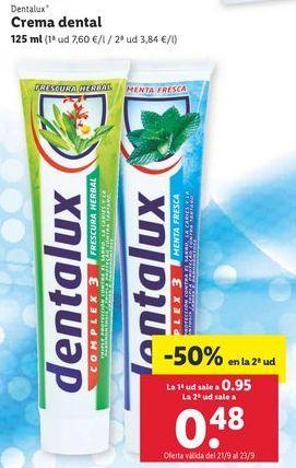 Oferta de Crema dental dentalux por 0,95€