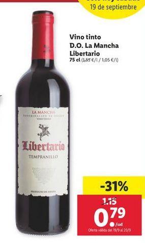 Oferta de Vino tinto D.O La Mancha kibertario  por 0,79€