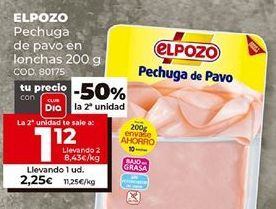 Oferta de Pechuga de pavo en lonchas 200g. El pozo. por 1,12€