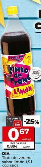 Oferta de Tinto de verano sabor limón 1.5l, Dia. por 0,67€