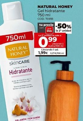 Oferta de Gel hidratante Natural Honey por 1,99€