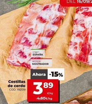 Oferta de Costillas de cerdo por 3,89€
