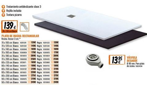 Oferta de Plato de ducha rectangular por 139€