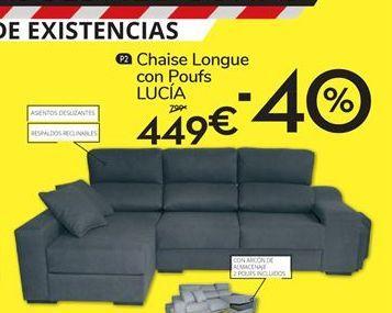 Oferta de Chaise longue con poufs Lucia por 449鈧�